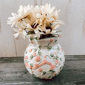 COPY - Floral Ceramic Pink and Green Vase